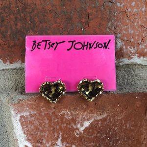 Betsey Johnson Leopard Heart Earrings